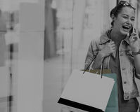 Woman Shopping Outdoors Store Lifestyle Concept Royalty Free Stock Photo