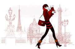 Woman shopping in Paris Stock Photography