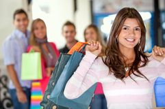 Woman with shopping people Stock Photo