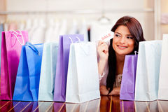 Woman shopping on sale Stock Photos