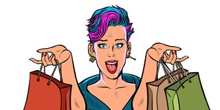 Woman shopping on sale. isolate on white background stock photography