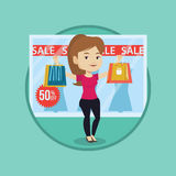 Woman shopping on sale vector illustration. Royalty Free Stock Photo