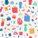 Woman Shopping Seamless Pattern Stock Images