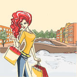 Woman after shopping. Series Urban fashion. Street panorama and slender glamour  girl after shoppin. Vector cartoon background Stock Images