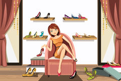 Woman shopping for shoes. A vector illustration of a woman in a shoes store shopping for shoes Royalty Free Stock Image