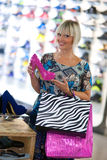 Woman shopping shoes Royalty Free Stock Images