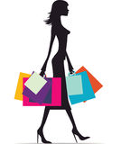 Woman shopping silhouette Royalty Free Stock Photography