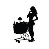 Woman shopping silhouette art illustration Royalty Free Stock Photos