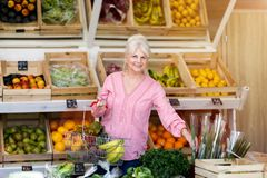 Woman shopping in small grocery store stock images