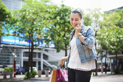 Woman Shopping Spending Customer Consumerism Concept. Woman Shopping Customer bag Concept Royalty Free Stock Photography