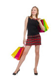 Woman after shopping spree. On white Stock Image