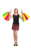 Woman after shopping spree. On white Royalty Free Stock Photography