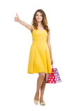 Woman after shopping spree Stock Photo