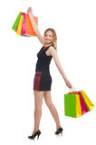 Woman after shopping spree. On white Royalty Free Stock Photo