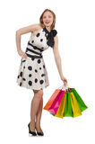 Woman after shopping spree. On white Stock Photography