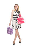 Woman after shopping spree. On white Royalty Free Stock Photos