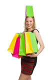 Woman after shopping spree. On white Stock Photos