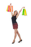 Woman after shopping spree. On white Royalty Free Stock Images