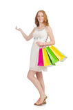 Woman after shopping spree Stock Photos