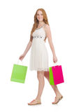 Woman after shopping spree Royalty Free Stock Photo