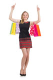Woman after shopping spree. On white Stock Photo