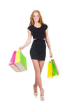 Woman after shopping spree. On white Royalty Free Stock Image