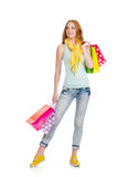 Woman after shopping spree Royalty Free Stock Images