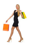 Woman after shopping spree Royalty Free Stock Image