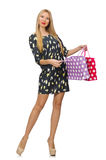Woman after shopping spree Royalty Free Stock Photography