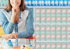 Woman shopping at the store stock image
