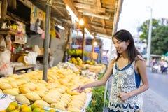 Woman shopping on the street market Royalty Free Stock Photo