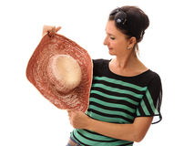 Woman shopping summer hat Royalty Free Stock Photo