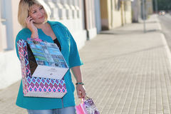 Woman shopping in summer Royalty Free Stock Images