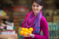 Woman Shopping In Supermarket Stock Images