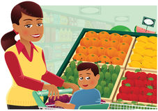 Woman shopping at supermarket Stock Photography