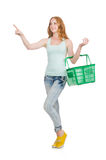 Woman after shopping in the supermarket isolated Stock Photos