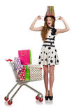 Woman after shopping Stock Images