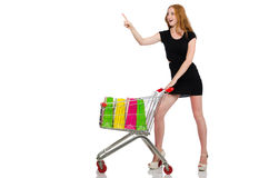 Woman after shopping in the supermarket isolated Stock Photography