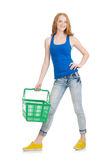 Woman after shopping in the supermarket Stock Photo