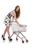 Woman after shopping in the supermarket Royalty Free Stock Photo