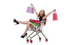 Woman after shopping in the supermarket Royalty Free Stock Image