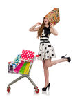 Woman after shopping in the supermarket Royalty Free Stock Photos
