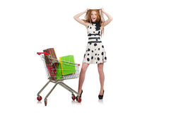 Woman after shopping in the supermarket Stock Photography