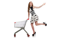 Woman after shopping in the supermarket Stock Photos