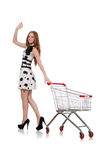 Woman after shopping in the supermarket Royalty Free Stock Photography