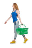 Woman after shopping in the supermarket isolated Royalty Free Stock Image