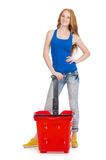 Woman after shopping in the supermarket isolated Royalty Free Stock Photos