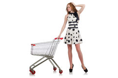 Woman after shopping in the supermarket isolated Stock Image