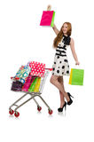 Woman after shopping in the supermarket isolated Stock Images