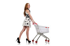 Woman after shopping in the supermarket isolated Royalty Free Stock Images